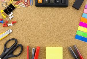 wallpaper stationary on cork board FYI00661451