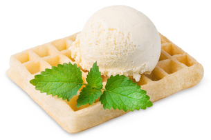 exempted waffle with vanilla ice cream and a leaf FYI00753750