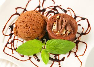 Mini chocolate hazelnut cake with ice cream FYI00756856