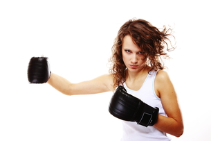 fit woman boxing - isolated over white FYI00765912