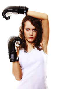 fit woman boxing - isolated over white FYI00765945