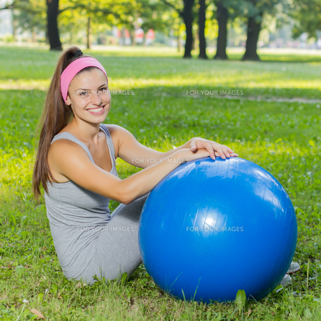 Fitness Healthy Young Woman With Pilates Ball Outdoor FYI00775994