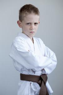 Young boy in karate gear FYI00777369