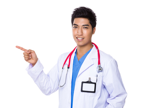 Male doctor with fineger point aside FYI00785527