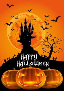 ハロウィン 夕暮れのお城とお化けカボチャ ジャックオーランタン FYI00796000