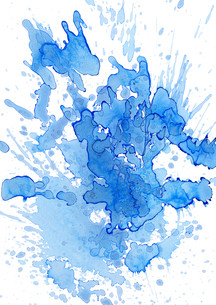 blue blobs and splatters on white FYI00872726