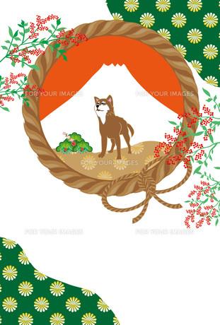 柴犬と南天の実の和風イラストのポストカード FYI00885659