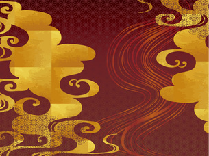 金の波と赤の和柄の背景 FYI00885922