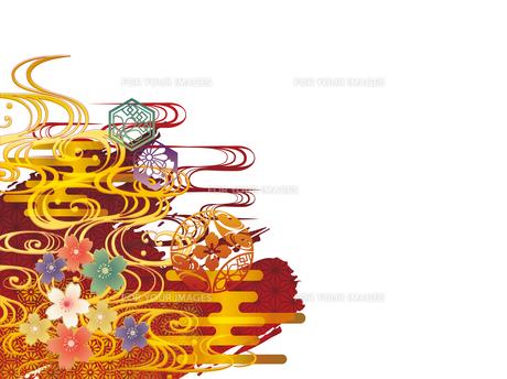 金の波と和柄背景素材 FYI00885923