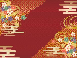 赤と金の和柄の背景素材 FYI00885927
