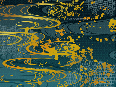 青と金の和柄背景素材 FYI00885929