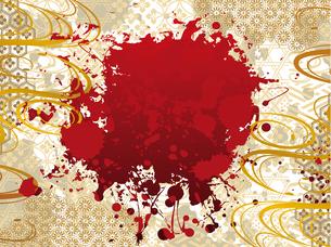 和柄と赤の筆風背景 FYI00885931