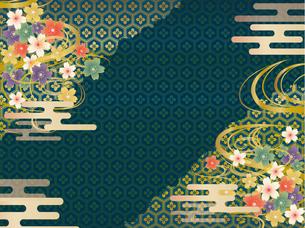 青と金の和柄の背景素材 FYI00885932