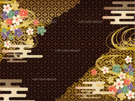 黒と金の和柄の背景素材 FYI00885935