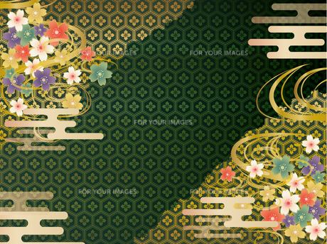 緑と金の和柄の背景素材 FYI00885936