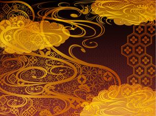 金の和柄波背景素材 FYI00885937