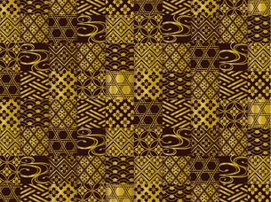 金と黒の和柄の背景 FYI00885938