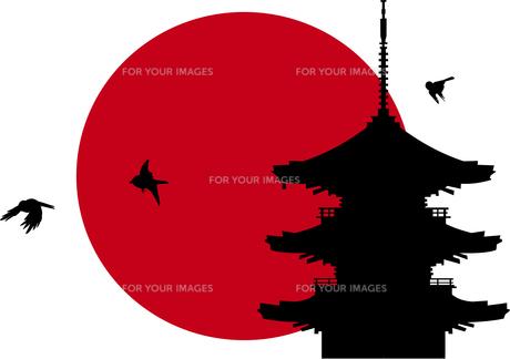 五重の塔に朝日 Fyi00886210 気軽に使える写真イラスト素材