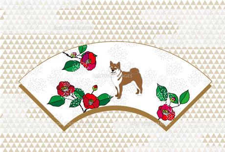 柴犬と梅椿の花の和風ポストカード FYI00886914