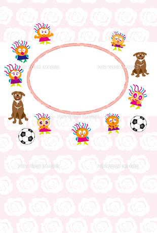 犬とサッカーボールと愉快なキッズの写真フレームのはがきテンプレート FYI00888165