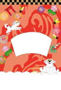 ポップな白い犬と鳥居のお正月写真フレームのはがきテンプレート FYI00888189
