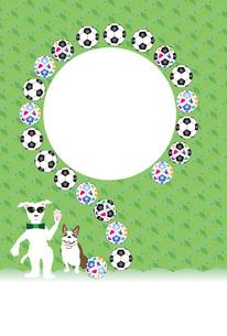 サングラスの犬とサッカーボールのポップな写真フレームのポストカード FYI00888195