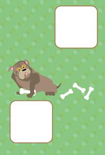 ポップな犬とほねの緑の写真フレームのはがきテンプレート 戌年 FYI00888203
