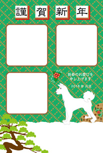 白い犬と松の木の緑の写真フレームの年賀状テンプレート FYI00888216
