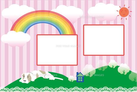 犬と虹と太陽のピンクのストライプの可愛い写真フレームのポストカード FYI00888239