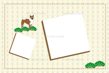柴犬と松のシンプルな和風イラストの写真フレームはがきテンプレート FYI00888253