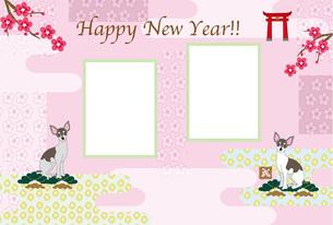 お洒落な犬と梅の花の和風イラスト写真フレームのピンクの年賀状テンプレート FYI00888610