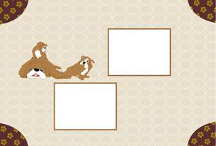 犬のイラストのモダンな和風の写真フレームのはがきテンプレート FYI00888619