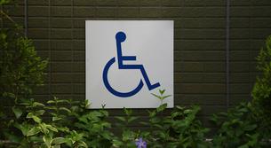 壁に貼られた車椅子の表示 FYI00889590