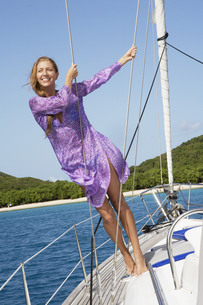 Mid adult woman on boat FYI00903417