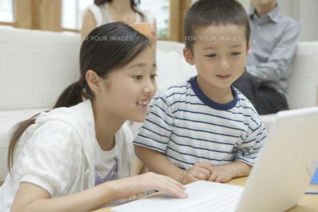 パソコンをする姉と弟 FYI00919204