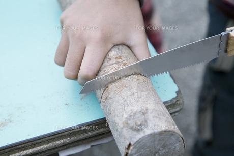 木の工作をする男の子の手元 FYI00920267