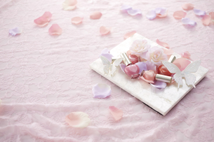 ピンクのレースの上に白いフォトスタンドとマニキュアと花びら FYI00961282