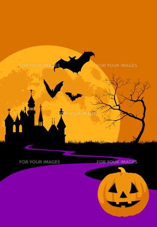 ハロウィンの夜のシルエットイメージの素材 [FYI01017364]