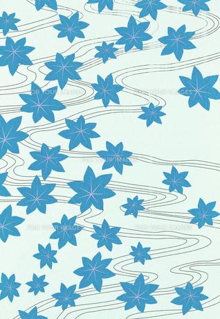 青いもみじと流れのコラージュ FYI01017401