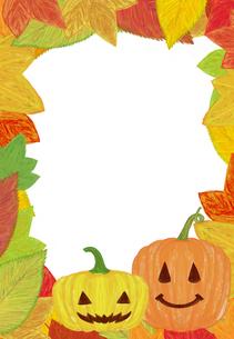 ハロウィンのカボチャと落ち葉のフレーム FYI01017495