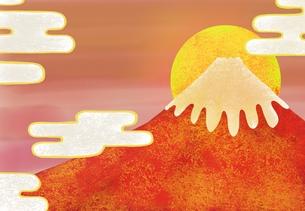 赤富士と日の出のイラスト FYI01017678