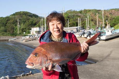 漁港で魚を持つ女将 FYI01030635