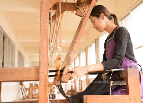 大島紬を織る女性 FYI01030849