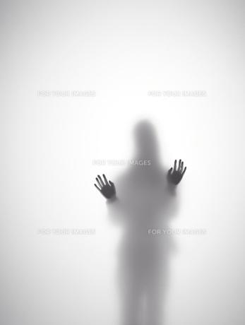 壁に両手をつく女性のシルエット FYI01033558