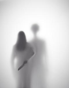 男に襲われそうになっている女性が背後に包丁を持つシルエット FYI01033617