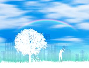 草原と街と木と女性と虹 FYI01038606