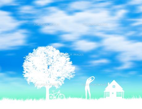 草原と家と木と女性 FYI01038728