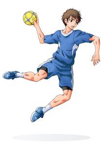 ハンドボールをする少年(背景なし) FYI01045939