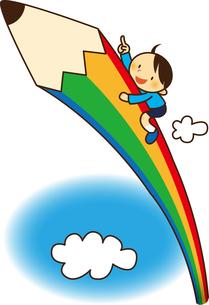 大きなエンピツで空にのぼる男の子 FYI01050352