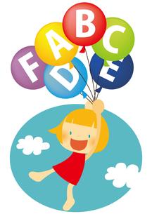 アルファベットの風船で空を飛ぶ女の子 FYI01050410